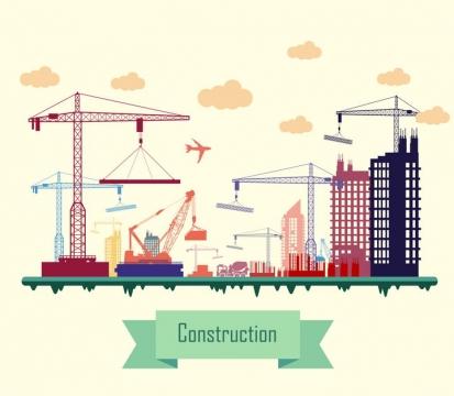 正在建设的城市建筑吊塔起重机图片免抠矢量图素材