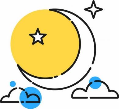 MBE风格黄色的月亮弯月白云装饰png图片免抠矢量素材
