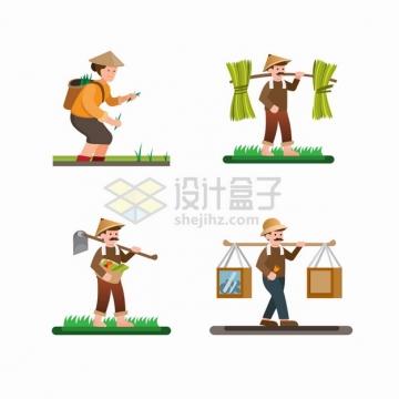 卡通农民插秧种地收获农产品用扁担挑担子png图片素材