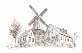 手绘素描风格乡村大风车风景图png图片免抠矢量素材