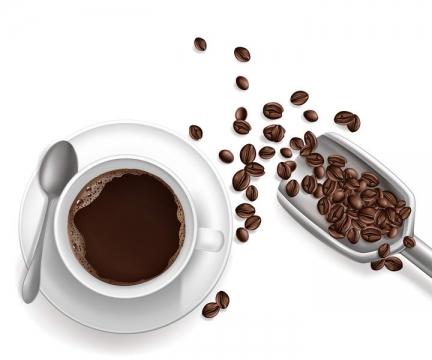 俯视视角的咖啡和咖啡豆图片免抠素材
