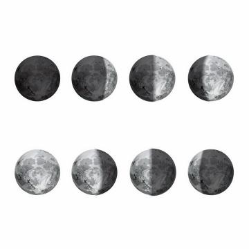 逼真的月相变化图月球月亮明暗交替变化科普png图片免抠矢量素材