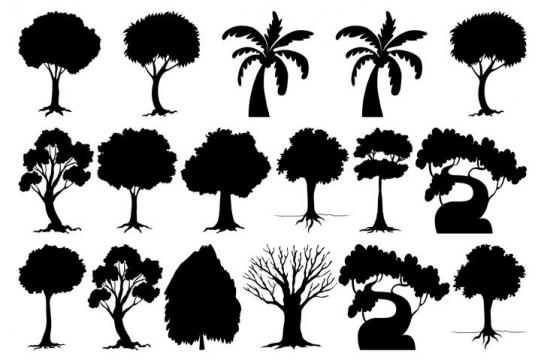 各种各样的树木大树剪影免扣图片素材