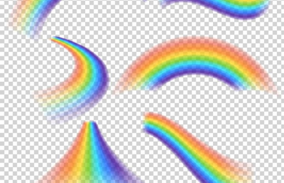 6款半透明效果的七彩彩虹图片免抠素材