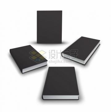 黑色封面的3D立体图书png图片免抠矢量素材