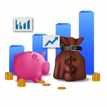 粉色小猪储钱罐钱袋子和蓝色增长柱形图png图片免抠矢量素材