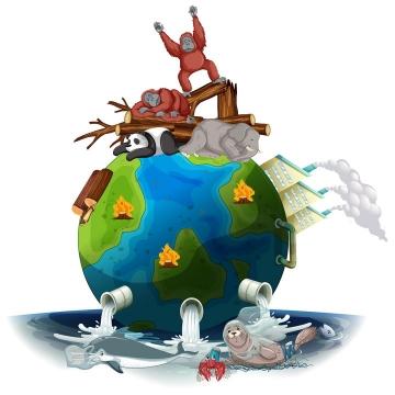 抽象风格地球上的化工厂和排污管道以及被砍伐的森林和无家可归的大猩猩大熊猫等野生动物受污染的海洋环保主题图片免抠矢量素材