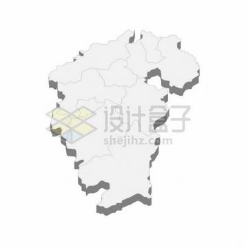 江西省地图3D立体阴影行政划分地图728181png矢量图片素材