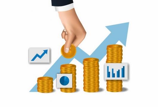 象征了投资的金币和增长折线图png图片免抠矢量素材