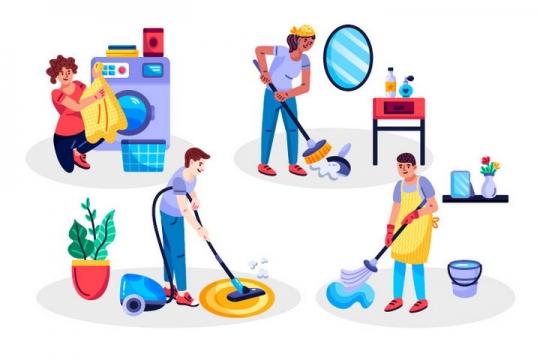 扁平插画风格洗衣服扫地用吸尘器和拖把大扫除的人图片免抠矢量图素材