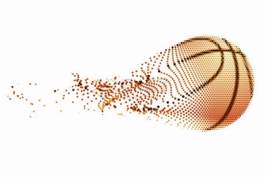 橙色和黑色圆点组成的创意篮球png图片免抠矢量素材