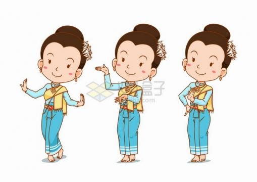 正在跳舞的卡通傣族姑娘泰国女孩少数民族png图片免抠矢量素材
