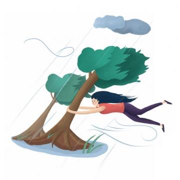 台风大风天气女孩抱着大树差点被刮走830303png图片素材