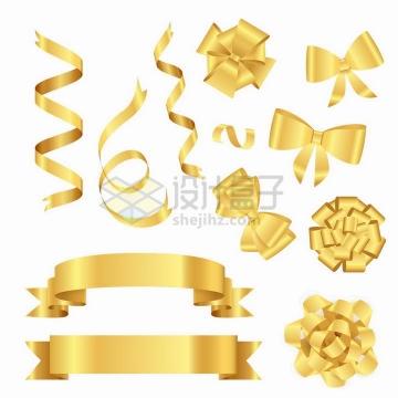 各种金色金属光泽效果丝带横幅蝴蝶结png图片免抠矢量素材