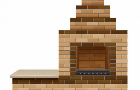 砖块砌成的壁炉烧烤炉png图片免抠矢量素材