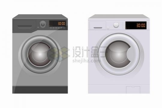 两款全自动滚筒洗衣机家用电器png图片免抠矢量素材