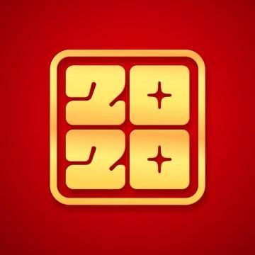创意金色立体印章风格2020年艺术字体免抠图片素材