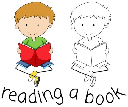 正在看书的卡通小朋友简笔画儿童画图片免抠矢量素材