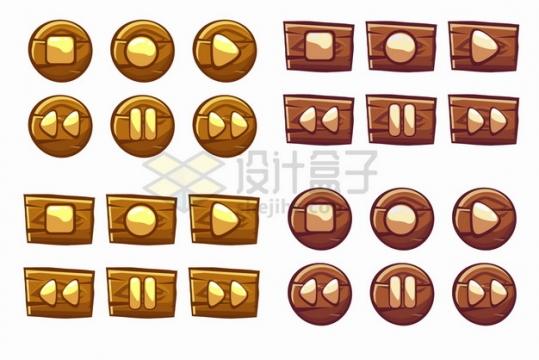 游戏开始暂停木质水晶按钮png图片素材