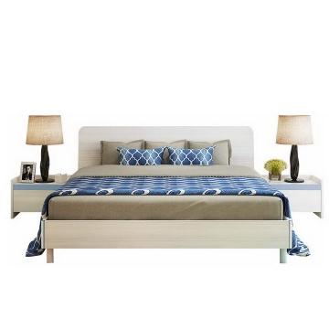 床垫和床以及床头柜展示效果图png透明背景免抠素材
