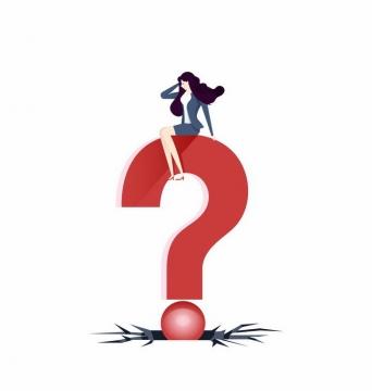 扁平插画风格坐在红色问号上面的商务职场女士png图片免抠矢量素材