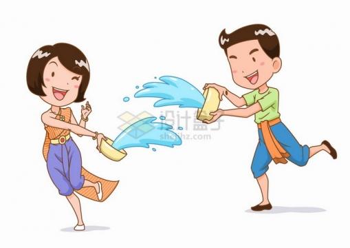泼水节相互玩耍的卡通傣族姑娘小伙少数民族png图片免抠矢量素材