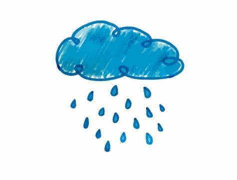 蓝色手绘涂鸦风格下雨乌云天气预报943974png图片AI矢量图素材