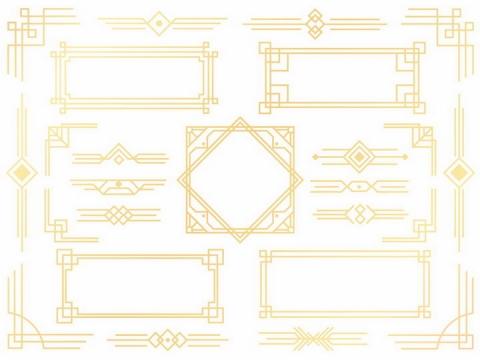 各种金色传统图案边框分割线png图片免抠矢量素材