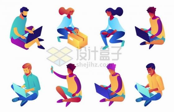 2.5D风格盘坐在地上使用电脑的年轻人和蹲下拆除快递箱的女人png图片免抠矢量素材