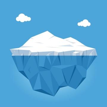 卡通漫画风格白云和冰山图片免抠矢量素材
