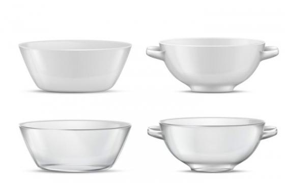白色的陶瓷汤碗和半透明玻璃汤碗图片餐具图片免抠素材
