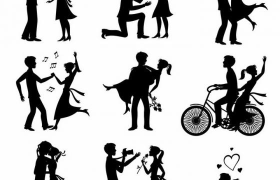 9款爱情情感求婚情侣剪影png图片免抠矢量素材