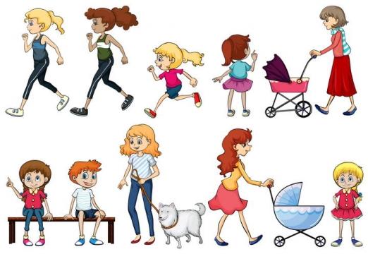 手绘卡通风格跑步的美女小孩遛狗的人群图片免抠素材合集