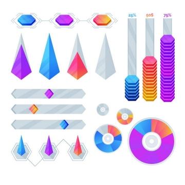 各种金字塔形立体风格PPT百分比图片免抠矢量素材