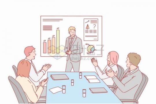 会议室演讲业务介绍培训手绘插图png图片免抠矢量素材