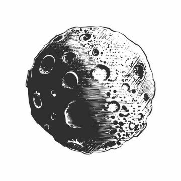 手绘素描风格布满陨石坑的月球小行星外星球png图片免抠矢量素材