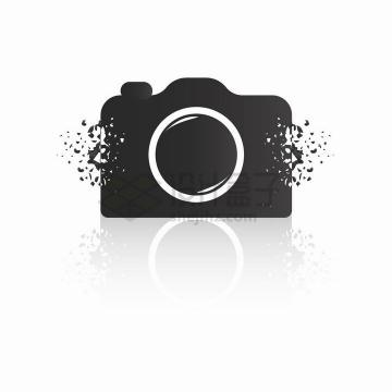逐渐破裂的照相机图案png图片免抠矢量素材