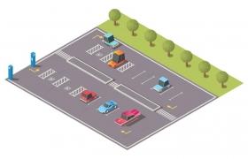 2.5D风格卡通户外城市停车场图片免抠矢量图素材