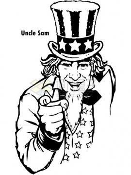 黑白色美国山姆大叔插画png图片素材