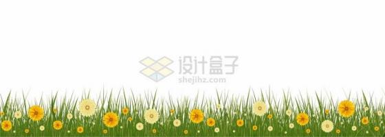青草丛中点缀着的黄色橙色小花野花装饰png图片免抠矢量素材