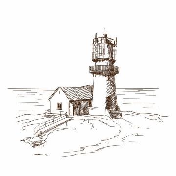 手绘素描风格海边的灯塔风景图png图片免抠矢量素材