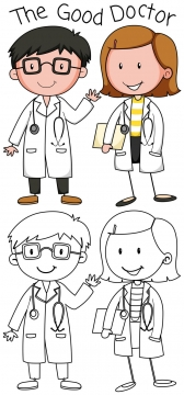 卡通医生简笔画儿童画图片免抠矢量素材