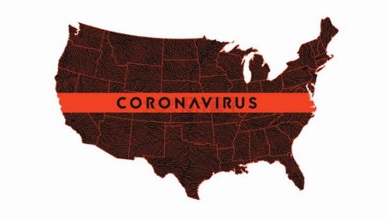红色的美国地图新型冠状病毒肺炎在美国传播png图片素材