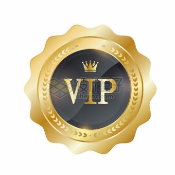 金色花边的VIP会员勋章标志png图片免抠矢量素材