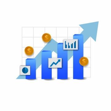 蓝色柱形图和金币曲线增长象征了投资的回报png图片免抠矢量素材
