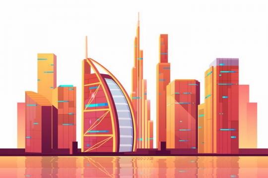 红色漫画风格迪拜建筑高楼大厦城市天际线png图片免抠矢量素材