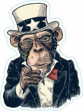 卡通大猩猩版美国山姆大叔png图片素材
