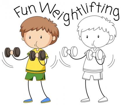 卡通锻炼身体简笔画儿童画图片免抠矢量素材
