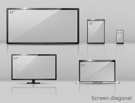 各种尺寸的显示屏大小对比图图片免抠素材