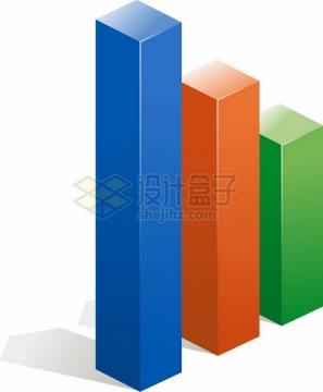 彩色3D立体柱形图png免抠图片素材
